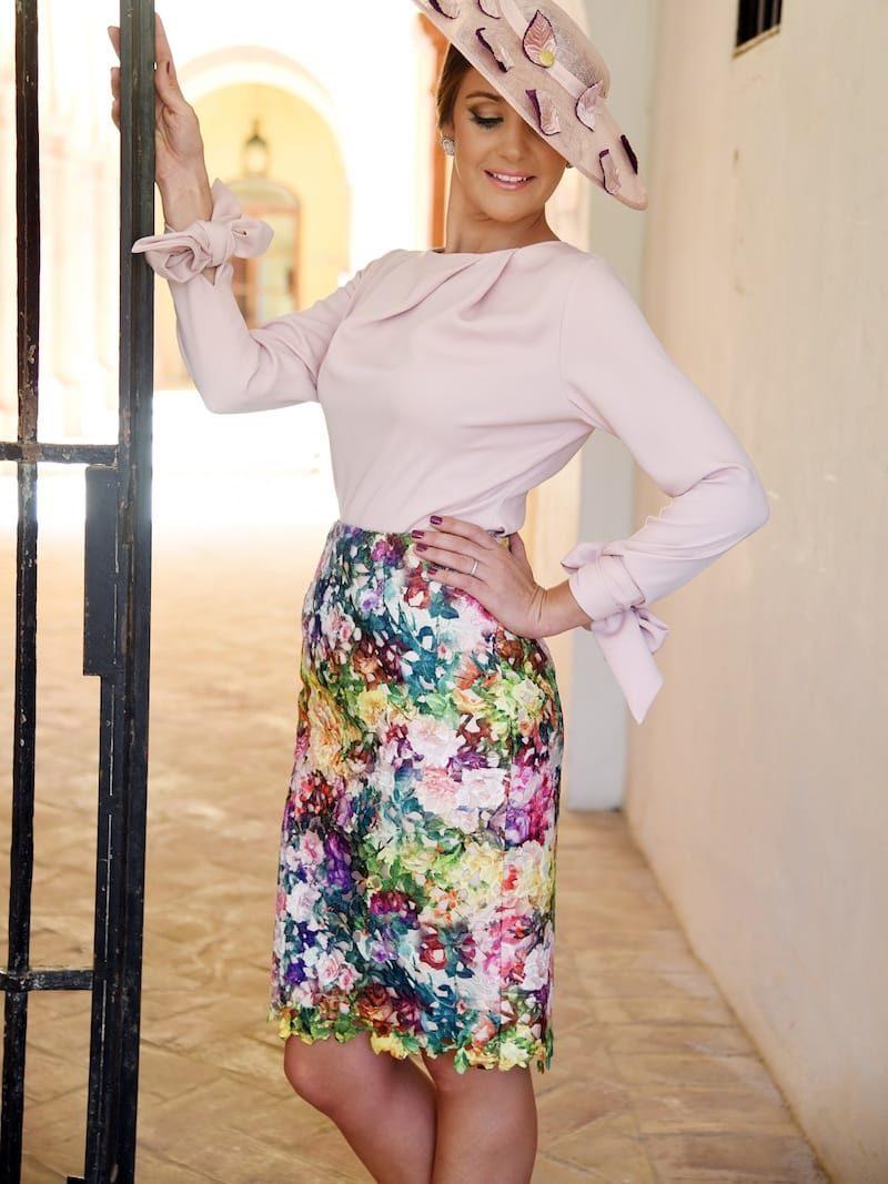 falda guipur multicolor
