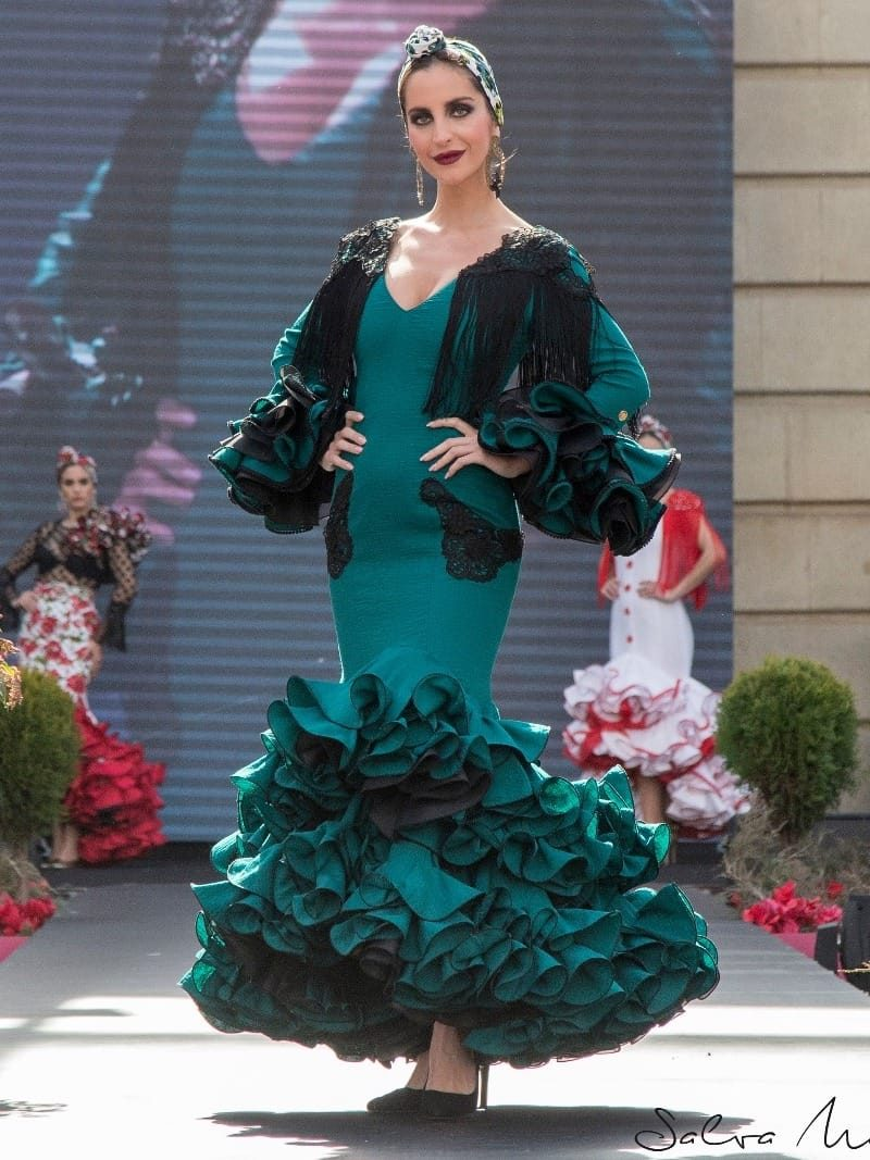 traje de gitana verde esmeralda