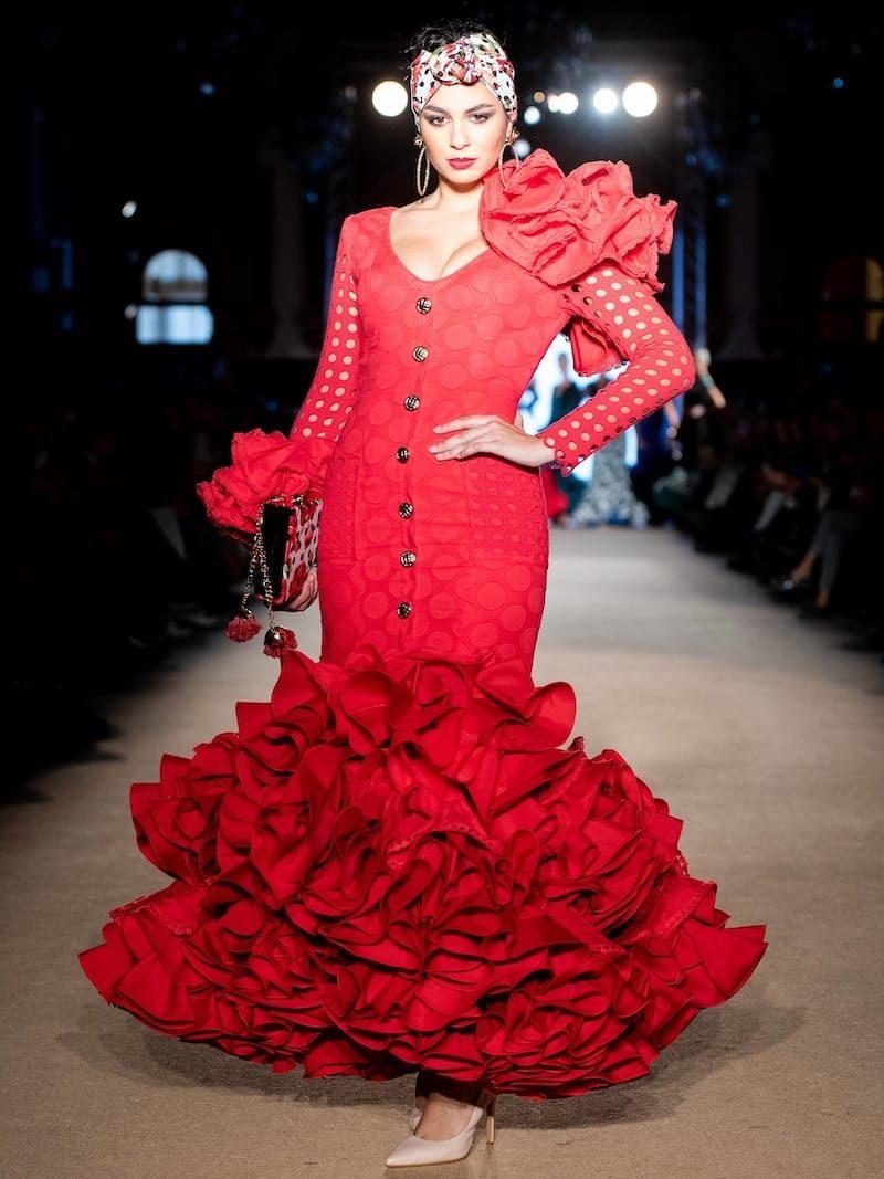 vestido de flamenca de tejido perforado