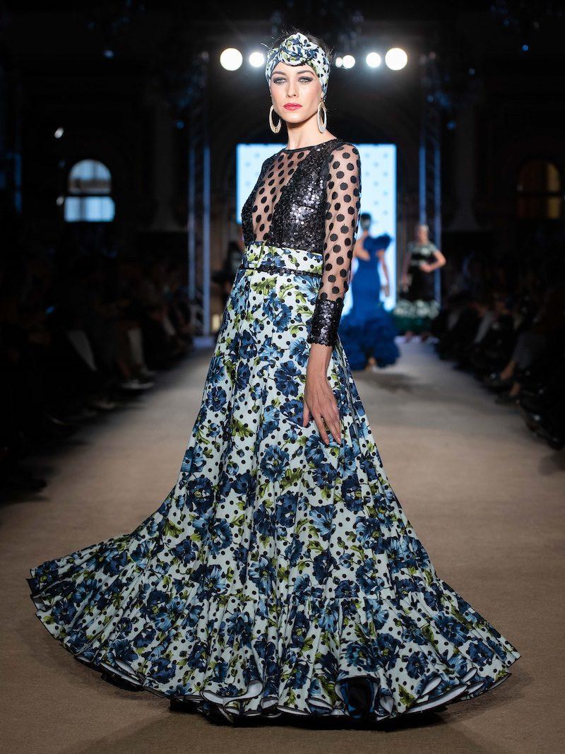 vestido de flamenca de vuelo estampado