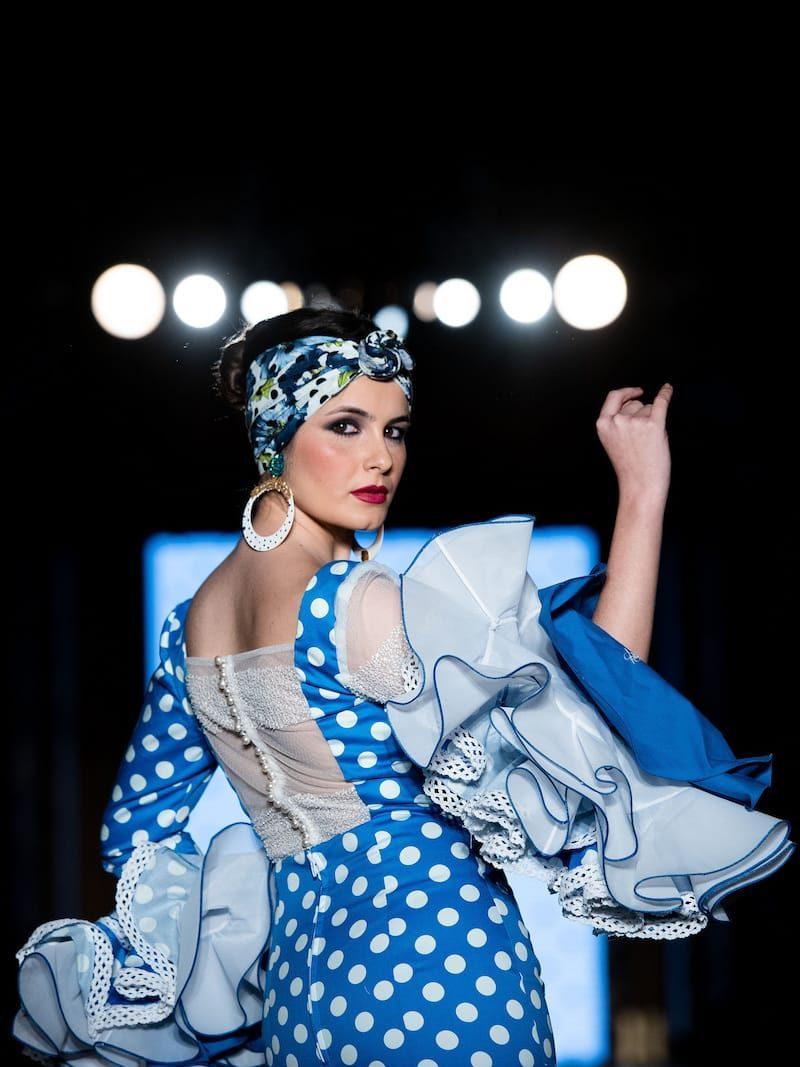 vestido flamenca azul lunares licra