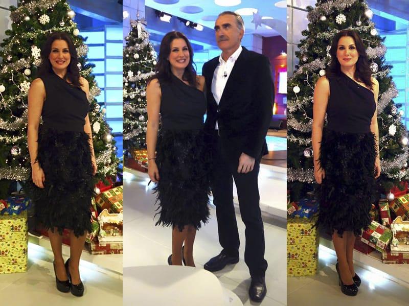 Eva Ruiz con vestido plumas y escote asimetrico