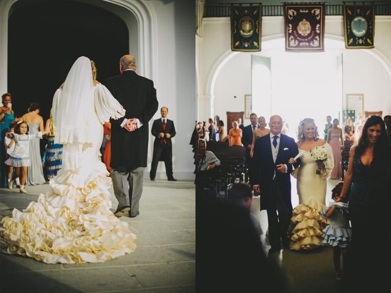 Vestido novia con volantes y corte flamenco