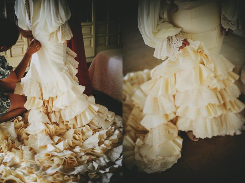 Vestido novia corte flamenco