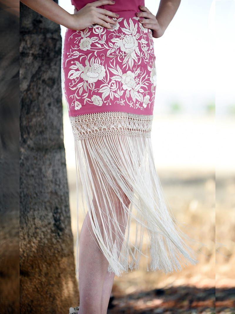 vestido boda flecos largos