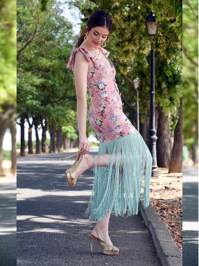 vestido de fiesta flecos extra largos