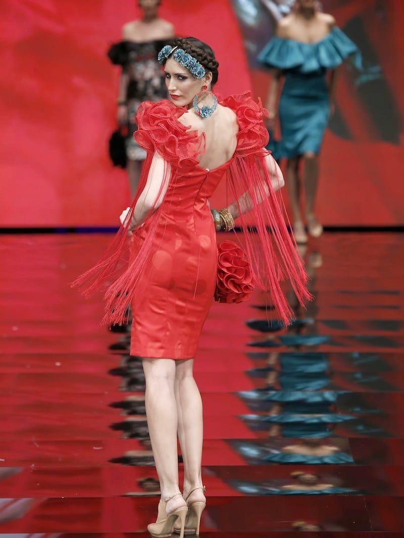 Vestido coctail inspiración flamenca con flecos