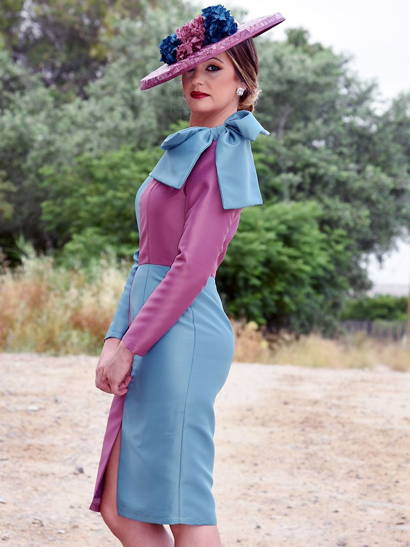 vestido-bicolor-lazo-hombro
