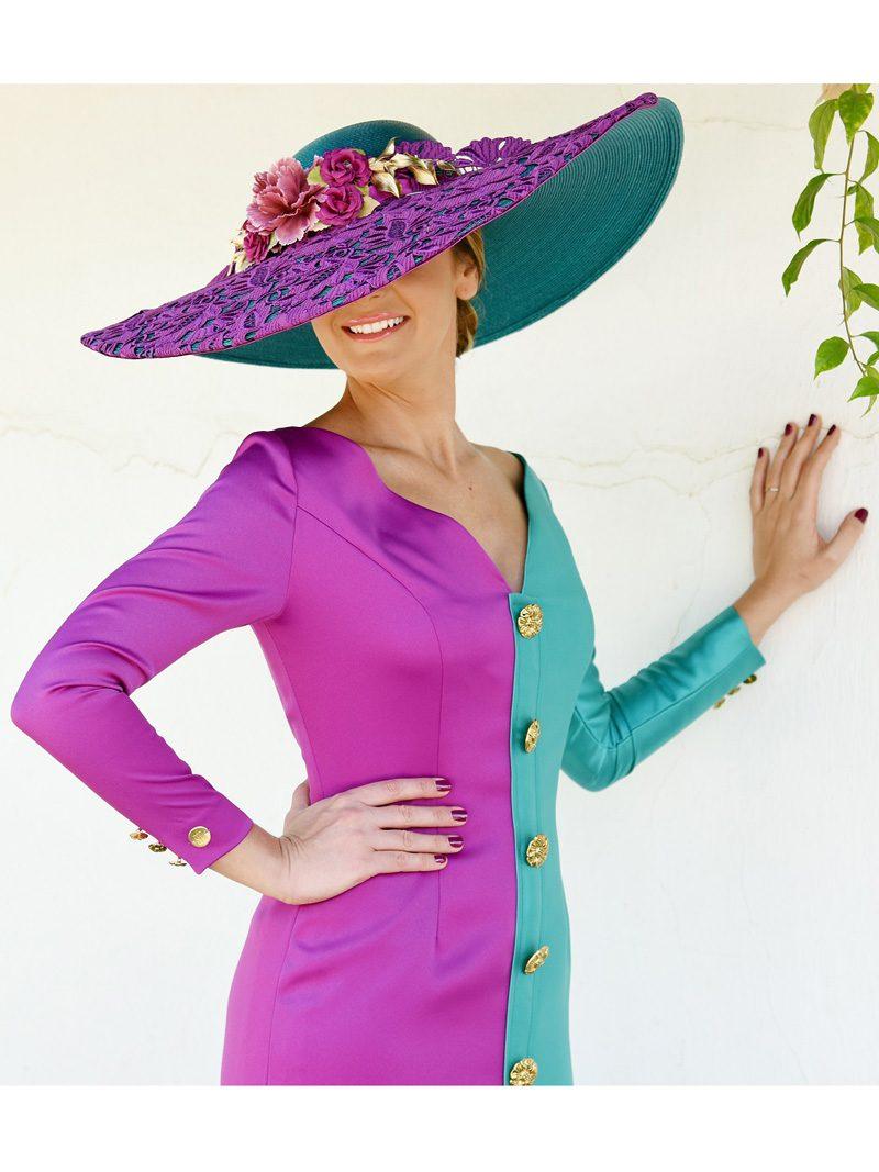 vestido-bicolor-mikado-botones-dorados