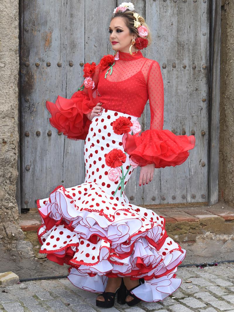 vestido-de-gitana-blusa-roja-y-falda-lunares