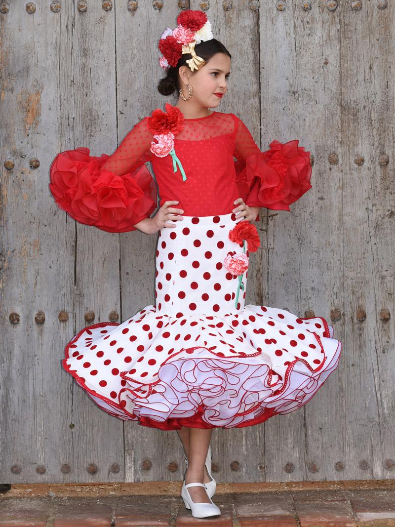 Blusa plumeti roja y falda blanca lunar rojo para niña