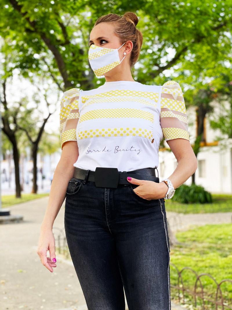 camiseta blanca rayas amarillas de lunares