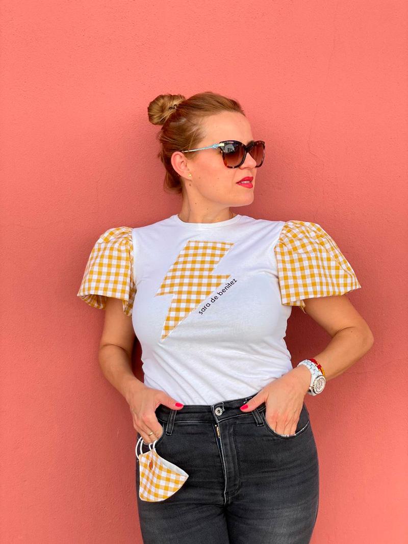 camiseta blanca cuadros vichy amarillos