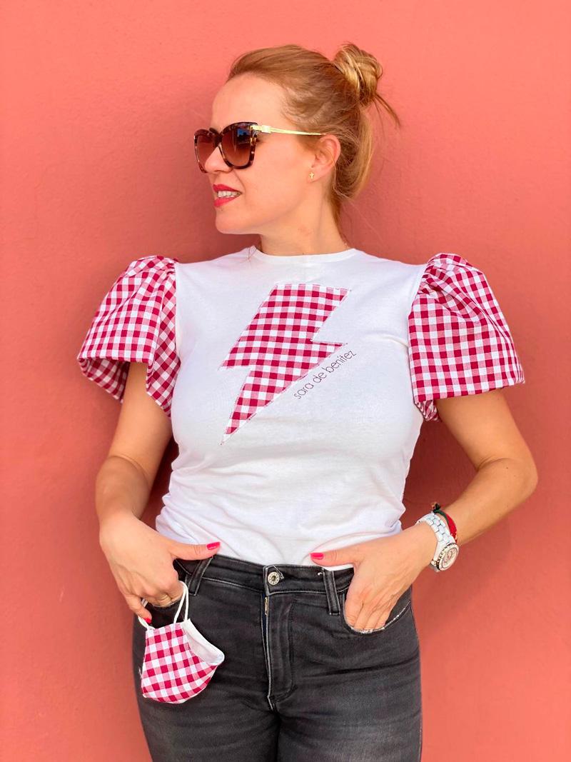 camiseta cuadros vichy rosas